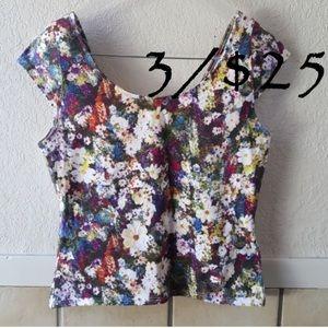 Guess jeans brand floral crop top, size L, EUC